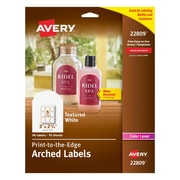 "Avery Print-to-the-Edge Textured Matte White Arched Labels, 2-1/4"" x 3"", Pack of 90 (22809)"