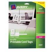 "Avery® Durable Printable Cord Tags 6591, 1"" x 2-1/4"", 50/Pack"
