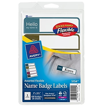 Avery® Print-or-Write Name Tags, Assorted Muted Colors, 1