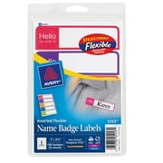 "Avery® Mini Flexible Print-or-Write Name Tag Labels, Assorted Neon Colors, 1"" x 3 3/4"", 100/Pk"
