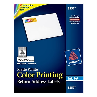 Avery® 8257 Color Printing Matte White Inkjet Return Address Labels, 3/4