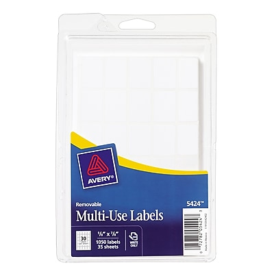 Avery ® 05424 White Removable Rectangular Label, 5/8