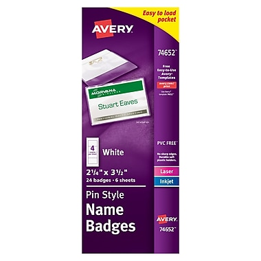 Avery® Pin Style White Name Tags with Flexible Holder 74652, 2-1/4
