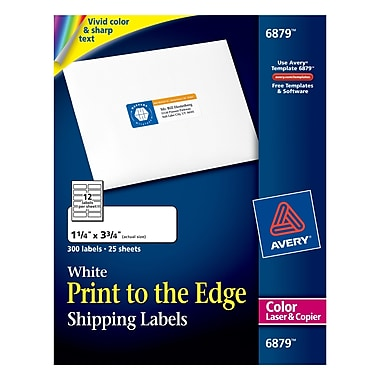 Avery® 6879 Color Printing Matte White Laser Address Labels, 1-1/4