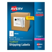 "Avery 8-1/2"" x 11"" Laser Full Sheet Shipping Labels with TrueBlock™, White, 100/Box (5165)"