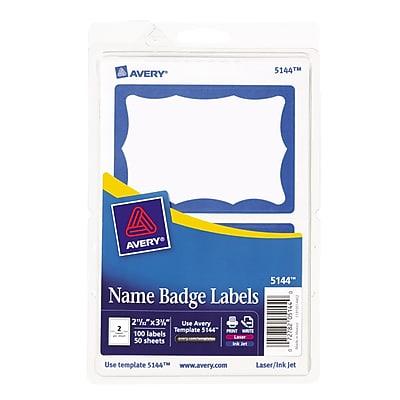 Avery® Print-or-Write Name Badges, Blue Border, 100/Pack (13971/5144)