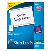 "Avery® 5353 White Copier Full Sheet Shipping Labels, 8-1/2"" x 11"", 100/Box"