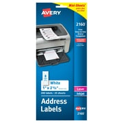 "Avery® 2160 Mini-Sheets™ White Inkjet/Laser Address Labels, 1"" X 2-5/8"", 200/Box"