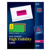 "Avery® 2"" x 4"" Laser Shipping Labels, Assorted Neon Colors, 150/Box (5978)"