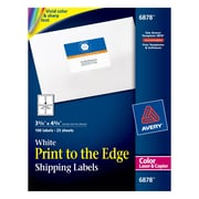 "Avery® 6878 Color Printing Matte White Laser Shipping Labels, 3-3/4"" X 4-3/4"", 100/Box"