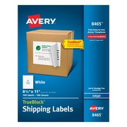 "Avery® 8465 White Inkjet Full Sheet Shipping Labels with TrueBlock™, 8-1/2"" x 11"", 100/Box"