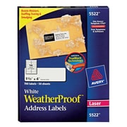 "Avery® 5522 White WeatherProof™ Address Labels, 1-1/3"" X 4"", 700/Box"