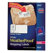 "Avery® 2"" x 4"" White WeatherProof Shipping Labels, 500/Box (5523)"