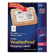 "Avery® 5-1/2"" X 8-1/2"" White WeatherProof Shipping Labels, 100/Box (5526)"