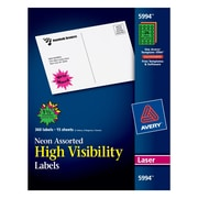 "Avery® 5994 Neon Laser Burst ID Labels, 1-1/2"", Assorted Colors, 360/Box"