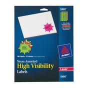 "Avery® 5995 Neon Laser Burst ID Labels, 2-1/4"", Assorted Colors, 180/Box"