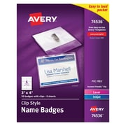 "Avery® 74536 Garment-Friendly Clip-Style Name Badges, White, 3"" x 4"", 50/Pack"