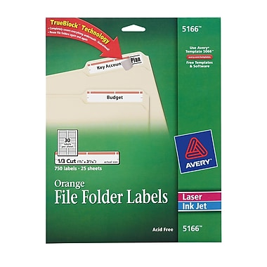 Avery® 5166 Orange Permanent File Folder Labels with TrueBlock™, 750/Pack