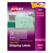 "Avery® 2"" X 4"" Clear Laser Shipping Labels with Easy Peel® 500/Box (5663)"