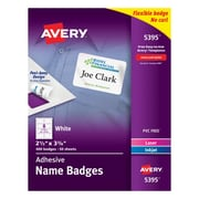 "Avery Self-Adhesive Name Tag Labels White 2 1/3"" x 3 3/8"" 400/Pack"