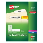 "Avery Laser Ink Jet Permanent File Folder Labels with TrueBlock, 2/3"" x 3 7/16"", White, 1500/Box (05366)"