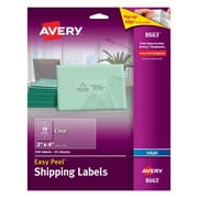 "Avery® 8663 Clear Inkjet Shipping Labels with Easy Peel®, 2"" X 4"", 250/Box"