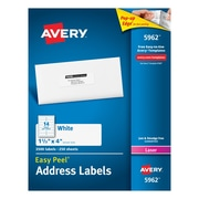 "Avery® 1-1/3"" x 4"" White Laser Address Labels with Easy Peel®, 3500/Box (5962)"