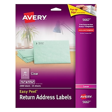 Avery® 1/2in. X 1-3/4in. Laser Return Address Labels with Easy Peel®, Clear, 2000/Box (5667)