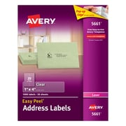 "Avery® 5661 Clear Laser Address Labels with Easy Peel®, 1"" X 4"", 1,000/Box"
