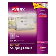 "Avery® 5664 Clear Laser Shipping Labels with Easy Peel®, 3-1/3"" X 4"", 300/Box"