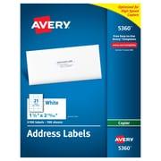 "Avery® White Copier Address Labels, 1-1/2"" x 2-13/16"", 2,100/Box (5360)"