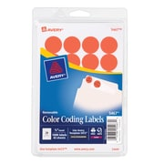 """Avery® 5467 Round 3/4"""" Diameter Print & Write Color Coding Labels, Red Neon"""