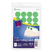 "Avery® 3/4"" Round Print & Write Color Coding Labels, Green Neon, 1008/Pack (13954/5468)"