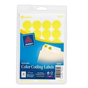 "Avery® 5470 Round 3/4"" Diameter Print & Write Color Coding Labels, Yellow Neon"