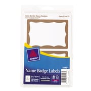 "Avery 5146 Printable Self-Adhesive Name Tag Label, Gold Border, 2 11/32""(W) x 3 3/8""(L), 100/Pack"