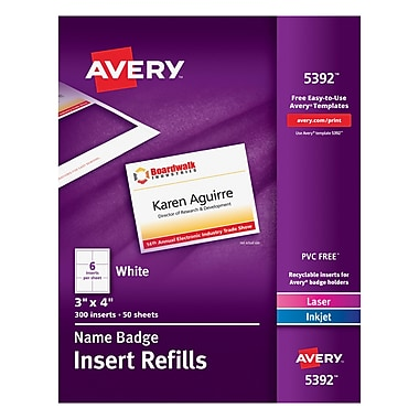 Avery® Name Tag Insert Sheets, 3