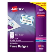 "Avery® Self-Adhesive Name Tag Labels, 2 1/3"" x 3 3/8"", White with Blue Border, 400/Pack"