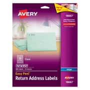 "Avery(R) Clear Easy Peel(TM) Return Address Labels 18667, 1/2"" x 1-3/4"" Pack of 800"