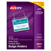 "Avery® Badge Holders, 3"" x 4"", Landscape, Neck Lanyard"