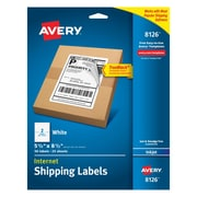 "Avery Inkjet Internet Shipping Labels with TrueBlock, 5-1/2"" x 8-1/2"", White, 50/Pack (08126)"