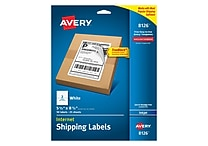 Avery Inkjet Internet Shipping Labels with TrueBlock, 5-1/2' x 8-1/2', White, 50/Box (8126)
