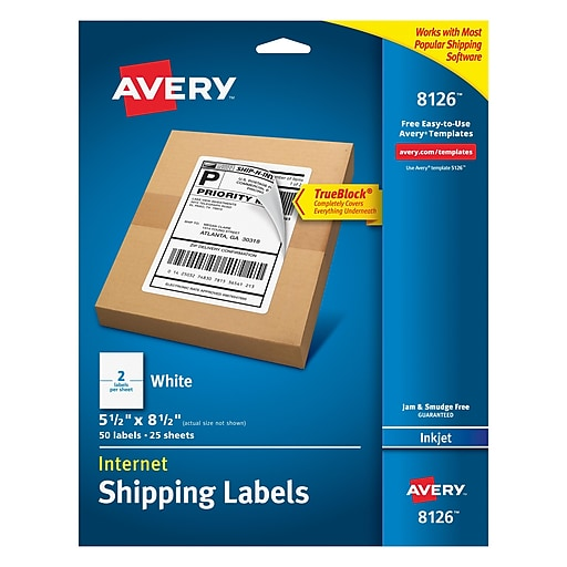 Avery(R) White High-Visibility Labels for Laser Printers 5294, 2-1/2