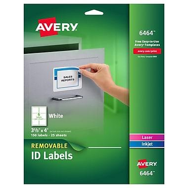 Avery® 6464 Removable Inkjet/Laser Labels, 3-1/3