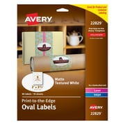 "Avery Print-to-the-Edge Textured Matte White Oval Labels, 2"" x 3-1/3"", Pack of 80 (22829)"