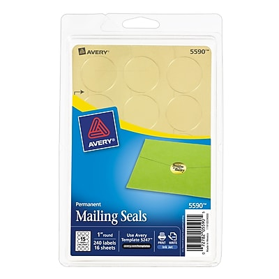 """Avery(R) Printable Gold Metallic Mailing Seals 5590, 1"""" Round, Pack of 240"""