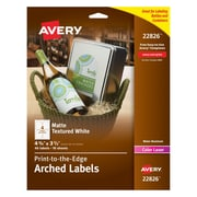 "Avery Print-to-the-Edge Water-Resistant Textured Matte White Arched Labels, 3-1/2"" x 4-3/4"", Pack of 40 (22826)"