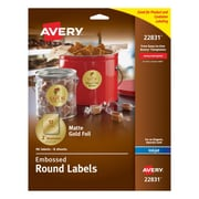 "Avery Easy Peel Embossed Matte Gold Foil Round Labels, 2"" Diameter, Pack of 96 (22831)"