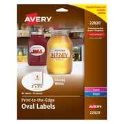 "Avery Print-to-the-Edge Glossy Oval Labels, True Print,  2"" x 3-1/3"", Pack of 80 (22820)"