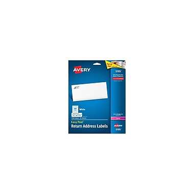 Avery® 5195 White Laser Return Address Labels with Easy Peel®, 2/3