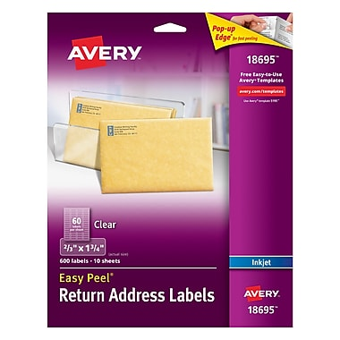 Avery® 18695 Clear Inkjet Return Address Labels with Easy Peel®, 2/3